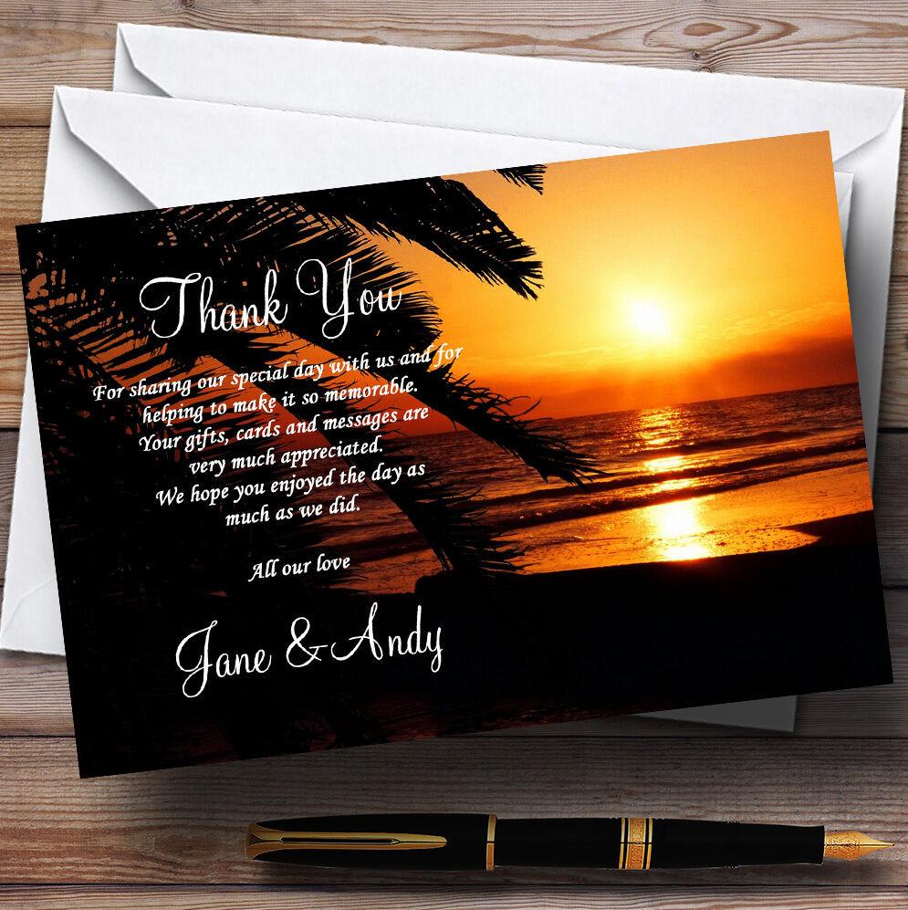 Splendido Florida Sunset Beach personalizzata Nozze CARTOLINE di ringraziamento
