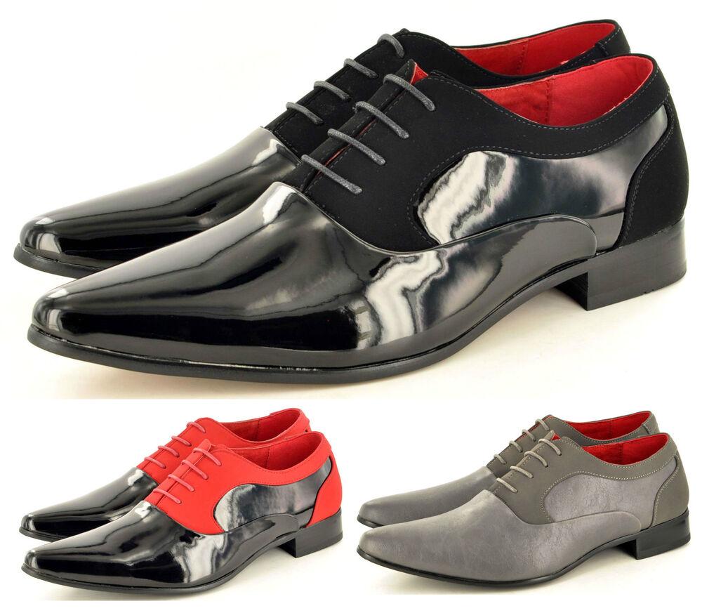 Hommes Noir Rouge Faux Daim & Verni Habillé à Lacets Chaussures Mariage Tailles
