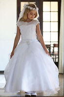 1st Communion Dress Formal Christening White Confirmation Gown Cute Flower Girl