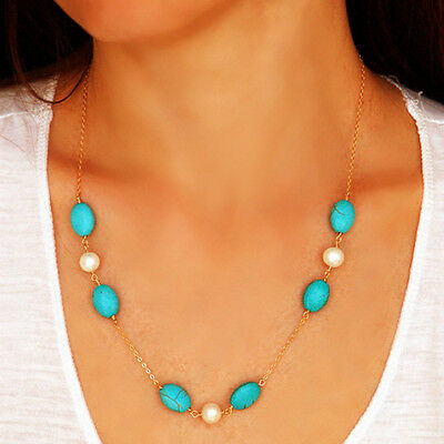 Amazing Bohemian Turquoise White Pearl Beads Deluxe Gold Chain Pendant Necklace