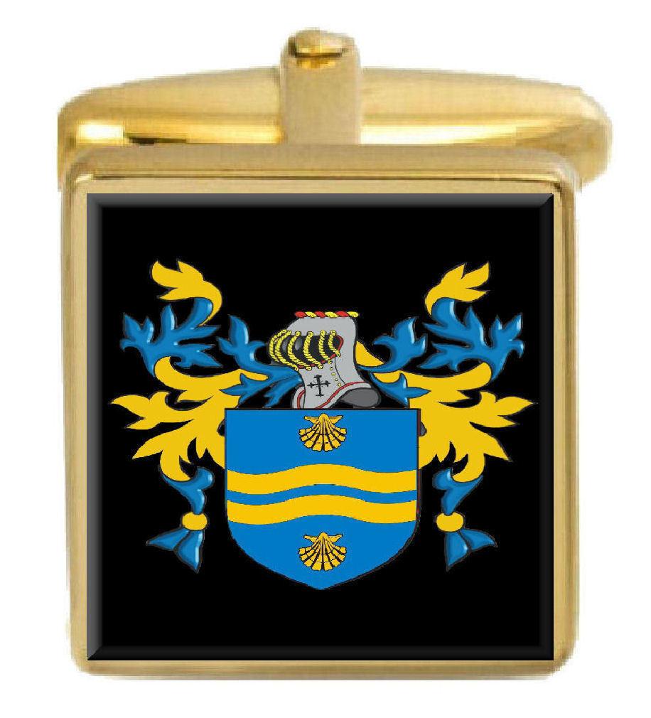 Trenmouth Inghilterra STEMMA DI FAMIGLIA cognome STEMMA Gemelli Gemelli Gemelli in oro incisi BOX 9bc097