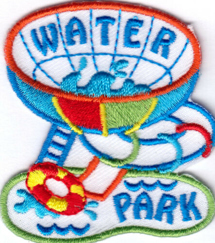 """AMUSEMENT IRON ON EMBROIDERED PATCH /""""WATER PARK/"""" PATCH GAMES SWIMMING"""