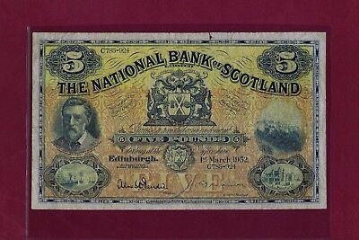 SCOTLAND THE NATIONAL BANK 5 POUNDS 1952 P-259 Fine RARE