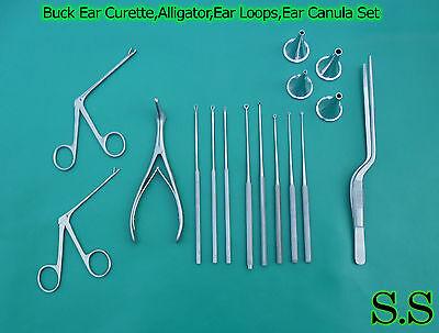 16-Pcs Buck Ear Curette,Alligator,Ear Loops,Ear Canula Surgical Nasal ENT Inst