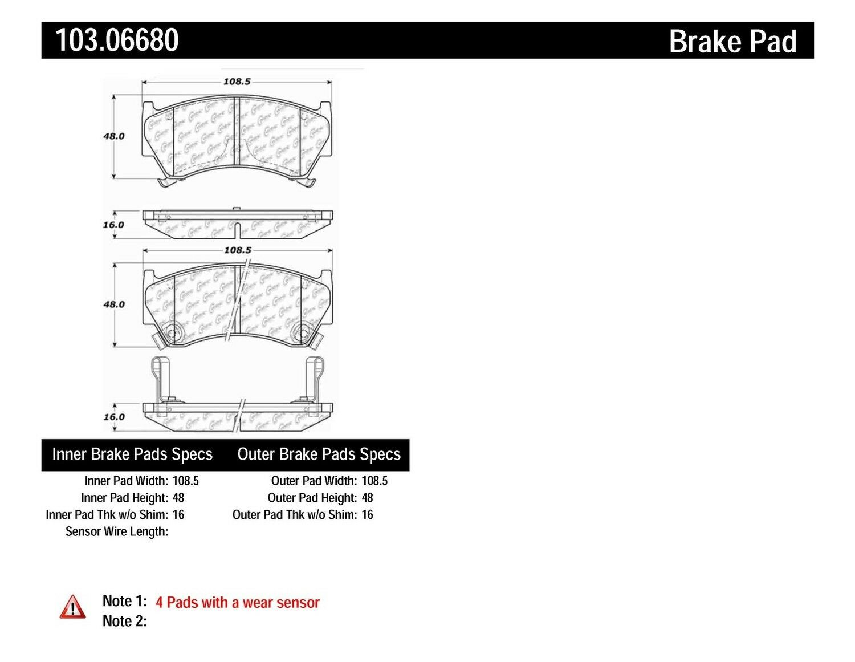 Disc Brake Pad Set-C-TEK Ceramic Brake Pads Front Centric 103.06680