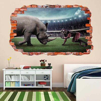 Rhino American Stadio Campo Sport 3d Wall Art Sticker Murale Decalcomania Dl23- Comodo E Facile Da Indossare