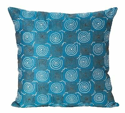 Deakin teal blue embroidered satin cushion cover