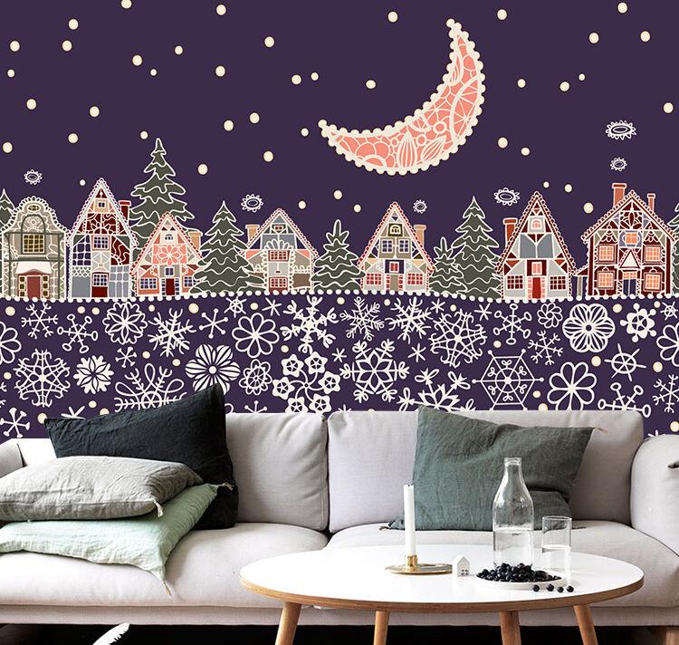 3D Weihnachten Cartoon-Muster 36 Fototapeten Wandbild Bild Tapete Familie Kinder