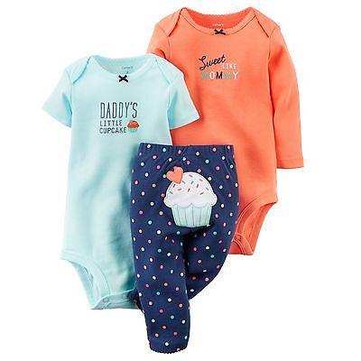 Carters Newborn 3 6 9 12 18 24 Months Cupcake Bodysuit Set Baby Girl Clothes