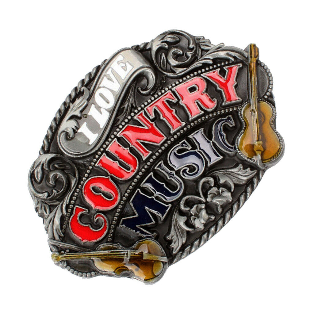 I Love Country Music Belt Buckle Western Cowboy Cowgirl