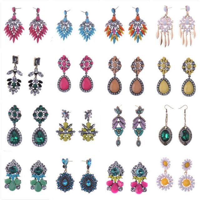 2015 Fashion New Women Elegant Crystal Rhinestone Ear Stud dangle Earrings