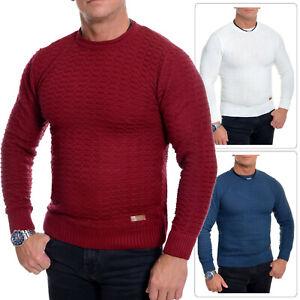 Men-039-s-Jumper-Striped-Knitwear-Smart-Long-Sleeve-Sweater-Crew-Neck-Top-Slim-Fit