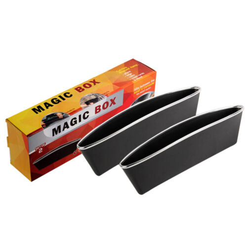 Black Universal 2PCS Car Storage Box Car Seat Gap Storage Bag Auto Tidying Slit