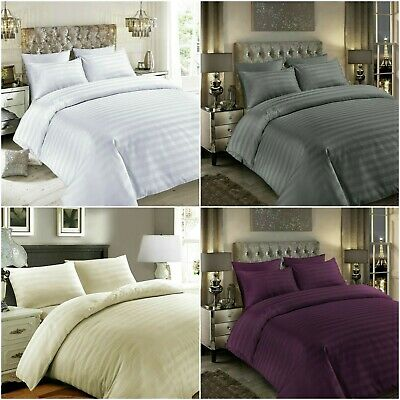 Satin Stripe 400 Thread Count Duvet Cover Set 100 Egyptian Cotton Bedding Sets Ebay