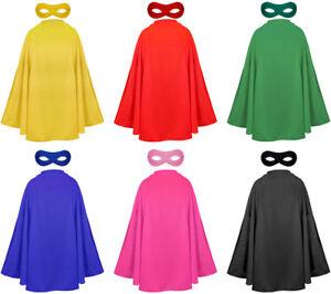 CAPE AND MASK CHILDS SUPERHERO FANCY DRESS COSTUME UNISEX COMIC FILM HERO SET