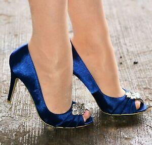 Ladies Navy blue Satin Evening Shoes