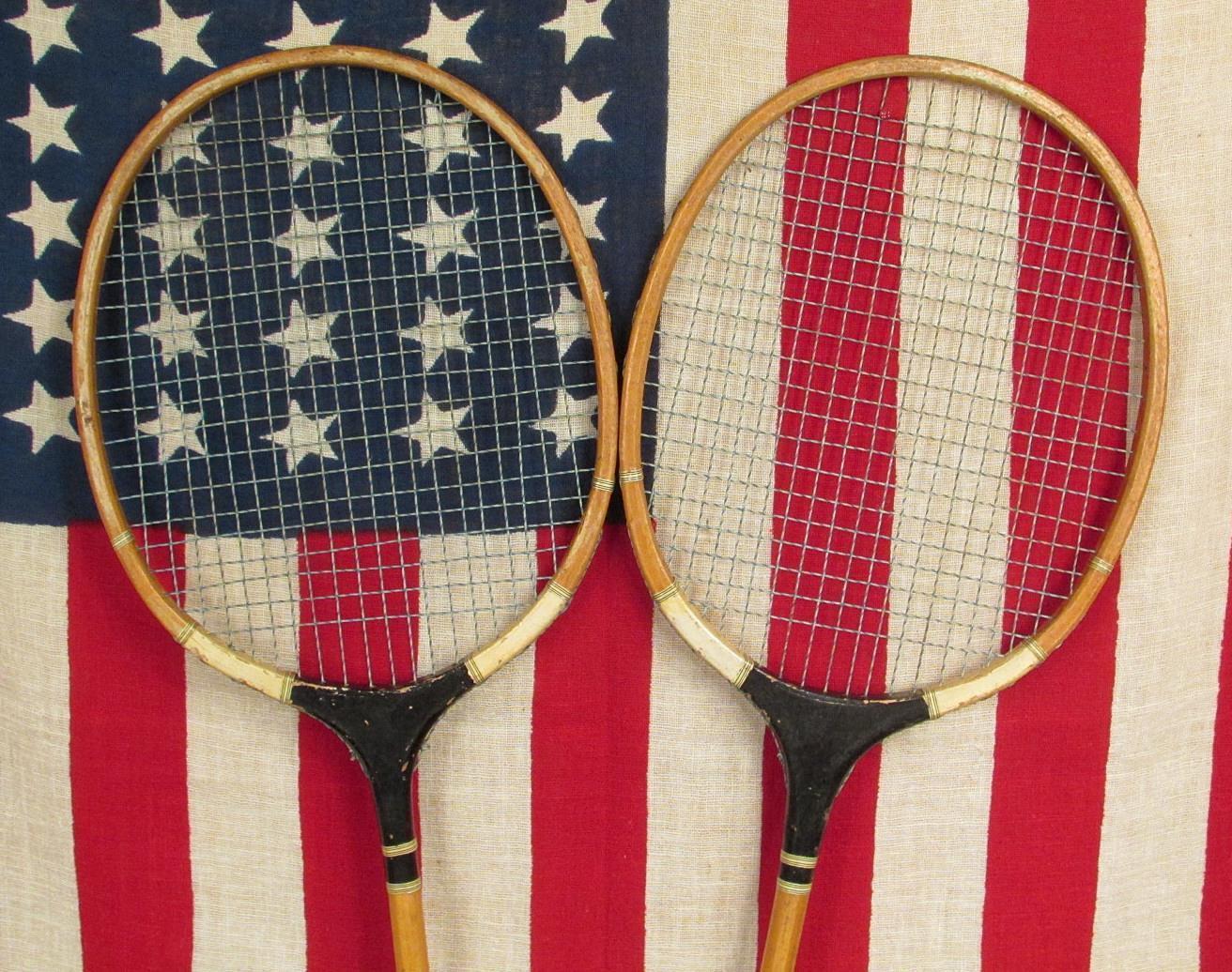 Vintage Antique Pair Winner Wood Badminton Racquets Great Logo  Antique Vintage Wall Art Decor 51cb4d