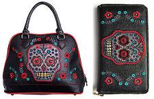 Banned Sugar Candy Skull Muerto Faux Leather Shoulder Bag HANDBAG & WALLET SET