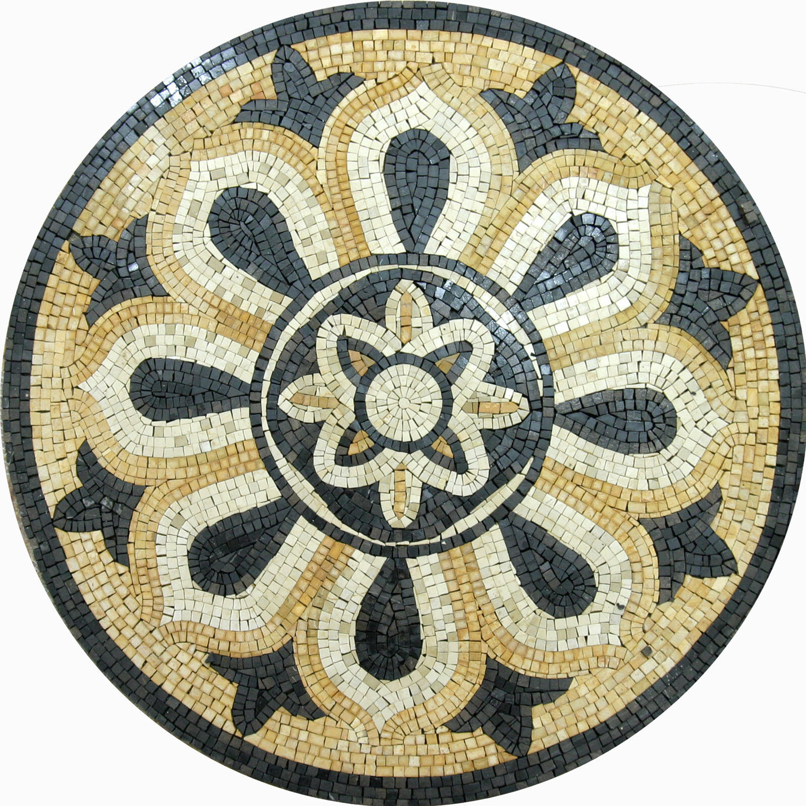 Floor Flower Motif Wall Round Medallion Decor Marble Mosaic MD1004