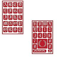 Re-usable Self Stick Over N Over Glass Etching 2 Stencils Old English Alphabet