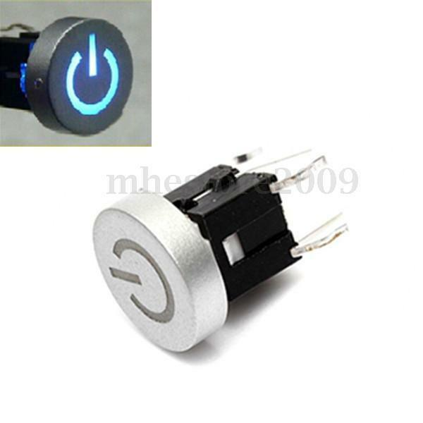 12V Blue LED Power Symbol Tact Tactile Push Button Switch Cap Momentary Dia 10mm