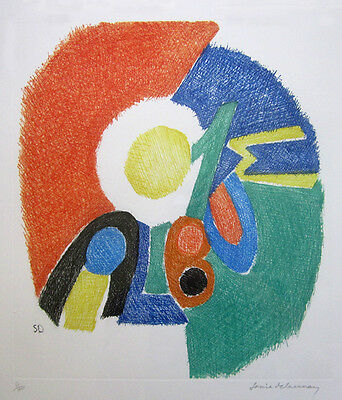 "SONIA DELAUNAY Signed 1966 Original Color Etching - ""Gravure II"""