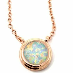 Antique-Round-White-Opal-Pendant-Necklace-Nickel-Free-Jewelry-Gift-14K-Rose-Gold