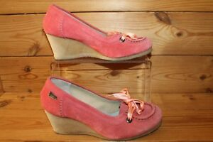 Clarks-Originals-Coral-Pink-Suede-Wedges-UK-4-5-D-with-Ribbons-Laces-sept73