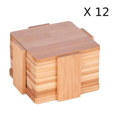Bulk 12 Sets Of 6pc Plain Blank Bamboo Coasters With Holder For Custom Engraving Ebay