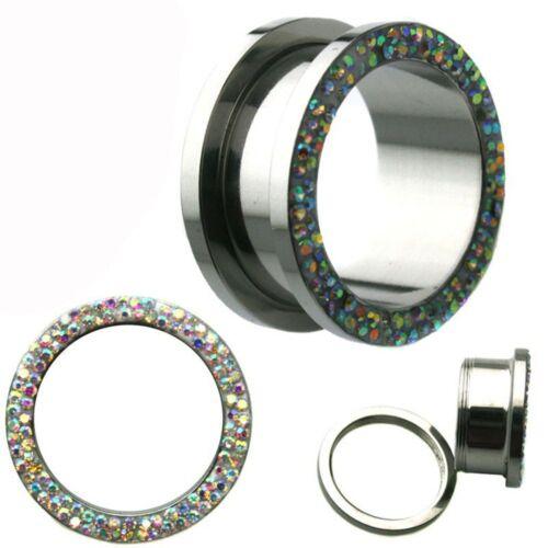 Double Aurora Borealis CZ Studded Surgical Steel Ear Tunnel Plug Sold Pair 15PLA