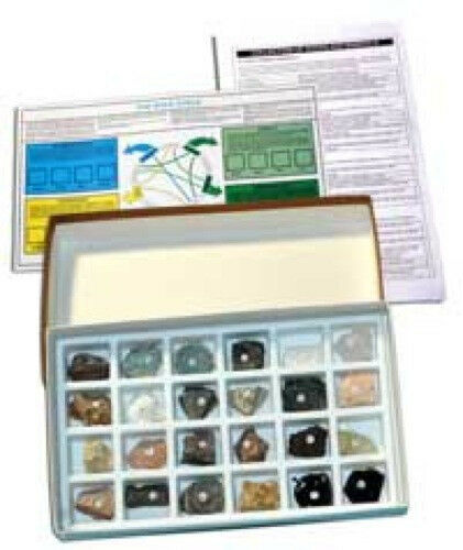 Rocks Minerals Samples Specimens Collection Kit Geology Facts 24 Items Identify