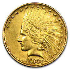 1907 $10 Indian Gold Eagle Pre-33 Gold Coin - First Year of Issue - Cleaned