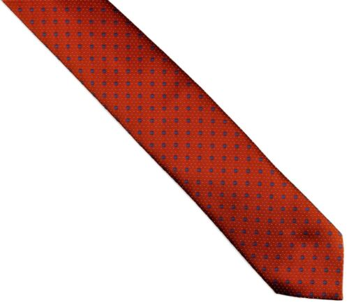 NWT ITALO FERRETTI TIE pure silk bricky red polka dot box luxury handmade Italy