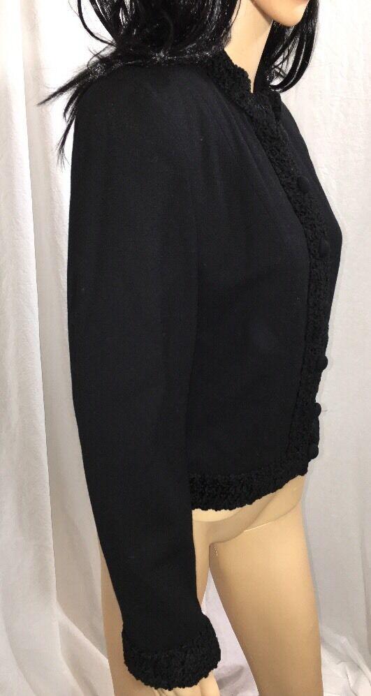 1980s Arnold Scaasi Blazer Evening Black Embroide… - image 4