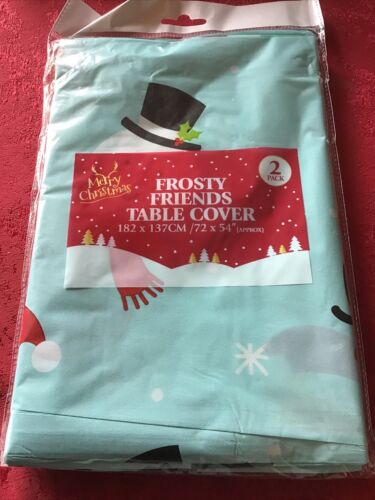 Two Frosty Friends Christmas Table Covers with Father Christmas and Snowman