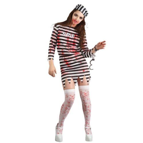 Femmes Zombie Prisonnier Costume Femme Halloween Prisonnier Prison Horror Fancy Dress