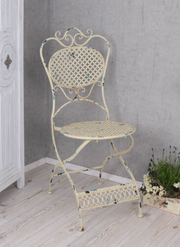 Metal Chair Antique Shabby Chic Garden Balcony Steel