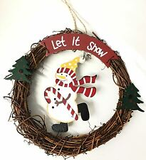 20cm x 20cm Snowman Christmas Hanging Wicker Wreath Festive Decorations