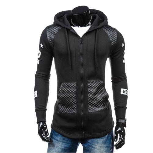 Winter Men/'s Leather Hoodie Warm Jacket Outwear Sweater Hooded Sweatshirt Coat