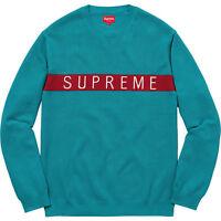 Supreme Logo Stripe Pique Crewneck Sweater Teal Size Xl With Receipt Fw16