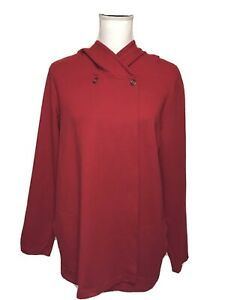 Pure-Jill-Size-Large-Red-Jersey-Knit-Top-Snap-Swing-Long-Sleeve-Hooded-Jacket