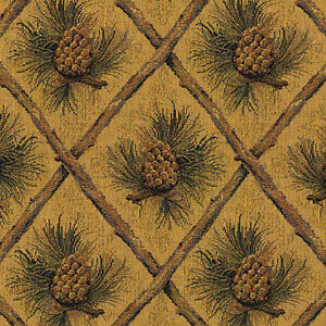 PINECONE-UPHOLSTERY-FABRIC-MOUNTAIN-LODGE-CABIN-RUSTIC-CABELA-TAPESTRY-CHENILLE