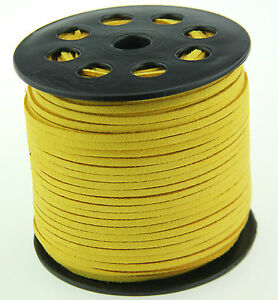 10ya 3mm yellow Suede Leather String Jewelry Making Thread Cords hot
