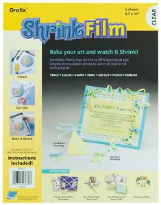 "Grafix Baking Shrink Film Art Plastic 8.5"" x 11"" Sheets Clear 6 Sheets"
