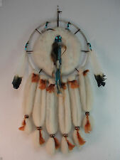 WALL HANGING HUNG WESTERN NATIVE AMERICAN HOME DECOR WOOL FEATHER LEATHER BEADED