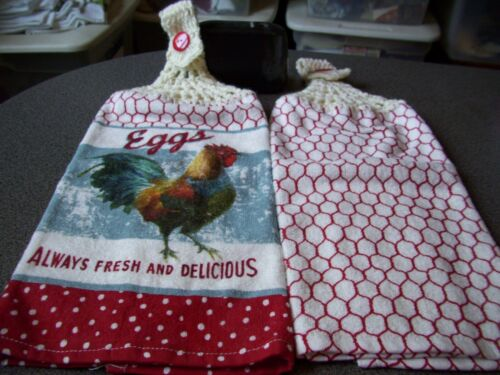 Eggs Always Fresh And Delicious  Rooster  Crochet Top Kitchen Towel Set
