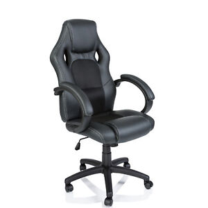 Racing Chefsessel Schwarz Bürostuhl Drehstuhl Bürosessel Schreibtischstuhl