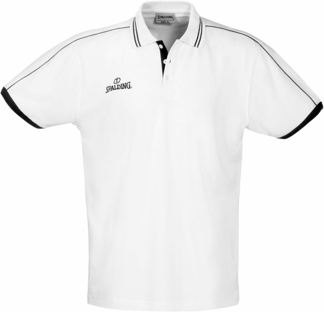 Spalding Basketball Sports Training Mens Short Sleeve SS Polo Shirt Top White