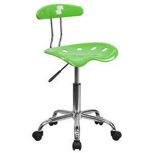Flash Furniture Vibrant Apple Green and Chrome Task Chair with Tractor Seat