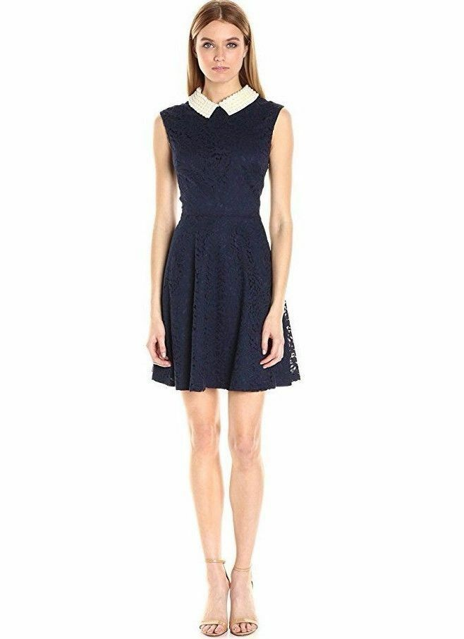 BETSEY JOHNSON PEARL COLLAR SLEEVELESS FIT & FLARE LACE DRESS